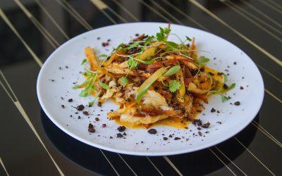 Bacalhau à Braz com pó de azeitona