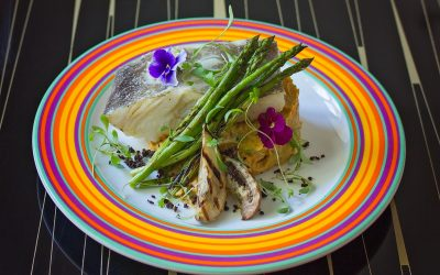 Salted, dried cod with eggplant, asparagus and sweet potato mash
