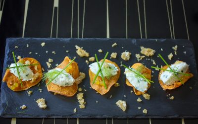 Sweet potato nachos with salted cod mousse