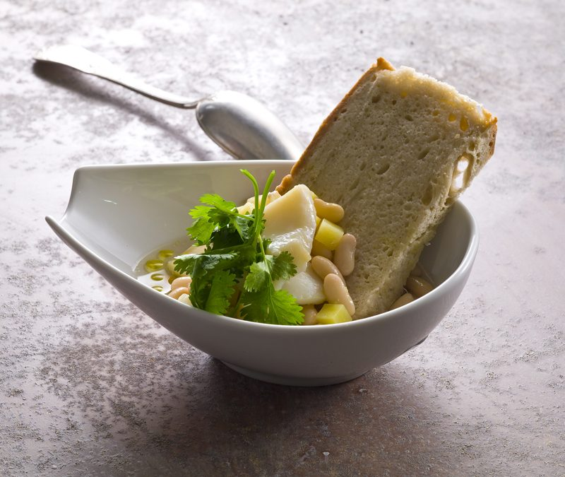 Sopa de feijão, abóbora e Bacalhau
